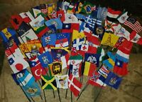 HUGE Lot of 186 Fabric & Wood Mini Flags of Foreign World Countries & States