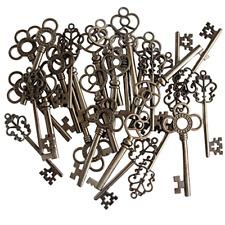 Skeleton Keys Antique Vintage Style Large in Gunmetal Black Finish 30 Key Set .