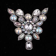 Crystal Rhinestone Beaded Applique Trim Sew Iron on Bridal Costume DIY Craft