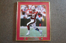 "JERRY RICE RARE VINTAGE SIGNED PHOTO - 24"" X 20"" GLASS FRAMED - TWO PINS & PLATE"