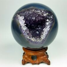 "2.65"" Polished agate sphere with an amethyst center w/Rosewood Stand Brazil A100"