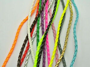 10 Meters Mixed Color BOLO Braided Faux Leather String Jewelry Cord 3mm 10 Color
