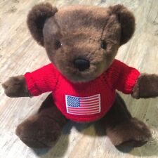 "Ralph Lauren 2000 15"" Plush Stuffed Teddy Bear Red Flag Sweater"