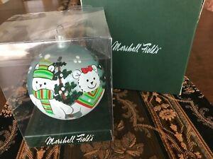 Rare New Marshall Fields Glass Hand Painted Santa Bear Ornament box 2005 Italy