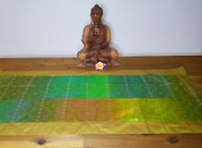 Table runner Green with Gold Thread From Made from sari fabric 1mtr x 40cm