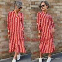 Zara Red White Shirt Midi Dress Tunic  SIZE XS S M