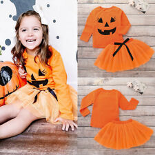 Toddler Girls Halloween Pumpkin Tutu Dress Tops Skirt Party Outfit Clothes Set