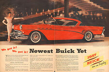 1956 Classic Car AD New '57 BUICK Beautiful Red 2dr Hardtop Classy !  022916