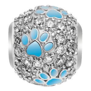 Rhodium on Sterling Silver Swarovski Crystal Puppy Paw Bead f/ European Bracelet