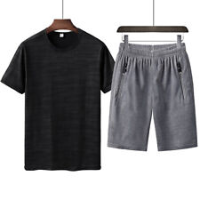 mens leisure short sleeve thin tops shirt & shorts pant trouses running suit new