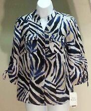 NWT$49 JM Collection 100% Linen Multi-Color 3/4 Sleeve Button Down Blouse Sz: 4P