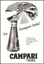 PUBBLICITA' 1957 CAMPARI SODA BOTTIGLIA APERITIVO DRINK BAR AUTO TRENO VIAGGIO