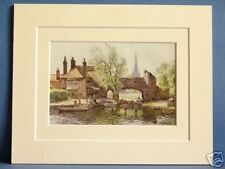 PULL'S FERRY NORWICH NORFOLK VINTAGE DOUBLE MOUNTED HASLEHUST PRINT 10X8 OVERALL