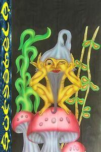 WANDBEHANG backdrop uv active flouro goa psy deko zwerg tuch mushroom pilz elfe