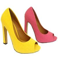 LADIES CORAL OR YELLOW OPEN-TOE PLATFORM STILETTO HIGH HEEL COURT SHOE SIZES 3-8