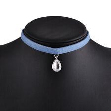 Blue Tassel Jean Denim Choker Crystal Necklace Women Vintage Punk Chain  Jewelry