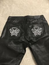 Biba Leather Look Jeans New Without Tag Size 10 Straight  Leg