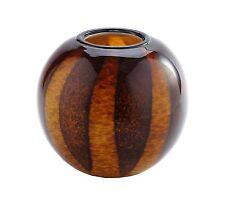 "New 8"" Hand Blown Glass Art Vase Bowl Brown Amber Striped Decorative"