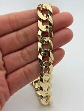 "14k Yellow Gold Solid Flat Cuban Link Chain Bracelet 9"" 12.5mm -43-45 grams"