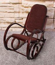 Sedia a dondolo in legno colore noce tessuto marrone