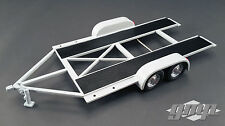 TANDEM CAR TRAILER W/ TIRE RACK GREY 1/18 SCALE DIECAST MODEL BY GMP 18821