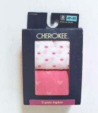 Cherokee Girls' 2 Pair Pink & White Valentine's Footed Sheer Tights Size 4T-5T