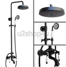 Black Oil Rubbed Brass Exposed Bathroom Rain Shower Faucet Set Mixer Tap Urs402
