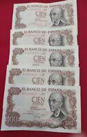CINCO BILLETES 100 PTAS. MANUEL DE FALLA CORRELATIVOS.