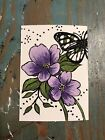ACEO ORIGINAL BUTTERFLY FLOWER CARD