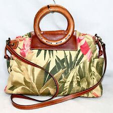 FOSSIL Wood Handle Floral Print Canvas Convertible Handbag Beige Green Pink