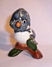 Bird E355 93.2016 Ceramic Stormy Blue Bird on Tri Stump Pie bird