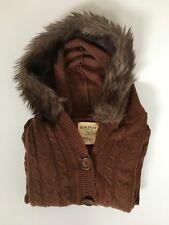 Damen Strickweste - jacke Größe S braun –mit Kapuze mit Fellbesatz