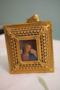 ANTIQUE BRASS DORE MINIATURE HAND PAINTED PORTRAIT MADONNA REUGE MUSIC BOX