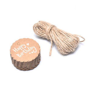 50Pcs Kraft Paper Tags Thank You Made With Love Blessing Labels Gift Wrapping OH