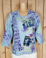 ALIA Womens Size Small 3/4 Sleeve Shirt Vneck Italy Travel Print Cotton/Poly Top