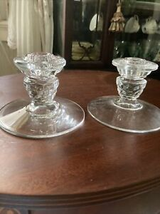 """PAIR FOSTORIA AMERICAN CLEAR GLASS 3"""" SINGLE CANDLESTICK/CANDLE HOLDERS"""