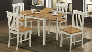 Stacey Extending Dining Set with 4 Chairs Natural & White