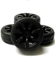 1/10 Scale RC Car On Road Wheel V Tread Tyre Tire Black Plastic 7 Spoke x4