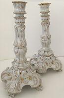 Pair JK Dresden Porcelain Candlesticks 10 1/2 Inches Gilt Ivory Hand Painted