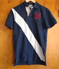 RUGBY Ralph Lauren Vtg Polo Men Sz S stripe patch crest RLPC blue white red lion