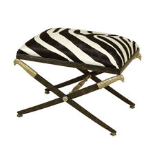 Maitland-Smith 8117-42 Black Iron Hide Bench Zebra Pattern Gold Accents New