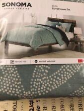NEW FULL/QUEEN SONOMA 3-piece Green Batik Geo 3pc Duvet Cover Set