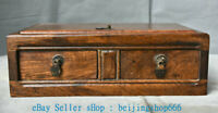 """10"""" Collect Old Chinese Huanghuali Wood Carving Dynasty Palace 2 Drawer Box"""
