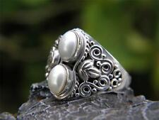 White Pearl Duo and 925 SOLID Sterling Silver RING (Size 7 3/4, P)