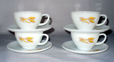 4 SETS OF VINTAGE ANCHOR HOCKING FIRE KING GOLDEN WHEAT CUPS SAUCERS + 2 BONUS