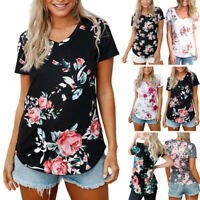 Women Summer Tees Casual Print Floral V-Neck Short Sleeve T-Shirt Tops Blouse