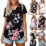 Women Summer Tees Casual Print Floral V-Neck Short Sleeve T-Shirt Tops Blouse