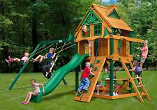 Outdoor Sierra Treehouse Swing Set w/Fort Add on, Wood Roof & Timber Shield Post