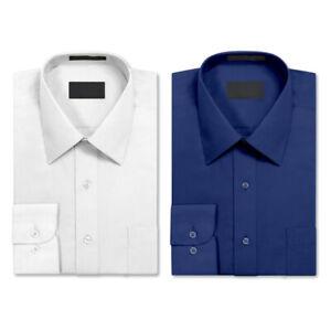 2 Pack Men's Berlioni Long Sleeve Button Up Solid Dress Shirt White - Royal Blue