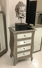 Moc Croc Embossed Mirrored 4 Drawer Bedside Table Cabinet Chest of Drawers